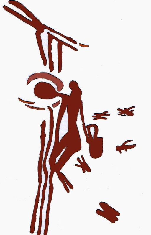 8000 year old cave painting foraging for honey