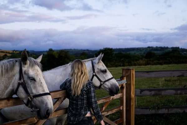 Dr Cliona on the farm with horses